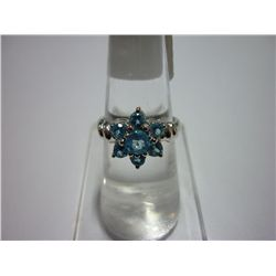 18.00 CTW BLUE TOPAZ RING .925 STERLING SILVER
