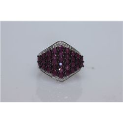27.72 CTW RUBY RING .925 STERLING SILVER