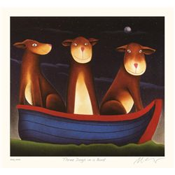 Mackenzie Thorpe 'Three Dogs in a Boat'