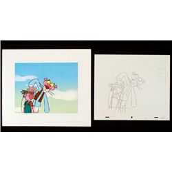 Animation Pink Panther Orig Cel Drawing Bkgrd Puppeteer