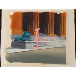Orig Background Animation Cel Pink Panther Lion Statue