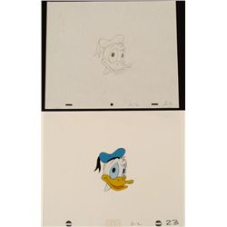 Face Original Animation Donald Duck Cel Drawing Art