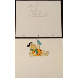 Orig Fred Flintstone Animation Cel Drawing Laying Down