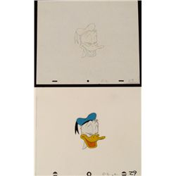 Original Closed Eyed Donald Duck Animation Cel Drawing