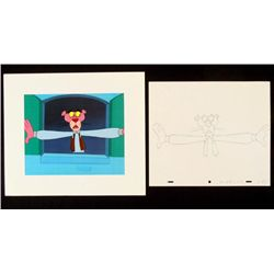 Pink Panther Animation Cel Drawing Bkgd Original Window