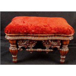 Antique Carved Wooden Foot Stool Bench