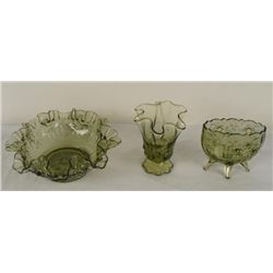 3 Fenton Colonial Green Rose Ruffle Bowl, Vases