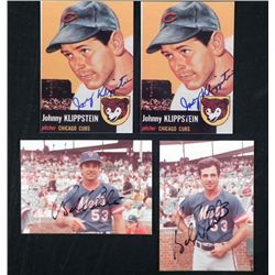 4 Signed Photos- Bobby Valentine and Johnny Klippstein