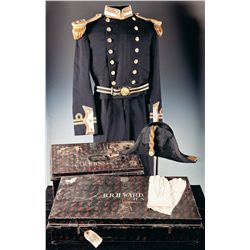 Royal Naval Uniform, Bicorn, Epaulettes and Belt with Two Storage Tins Attributed to B. R. H. Ward