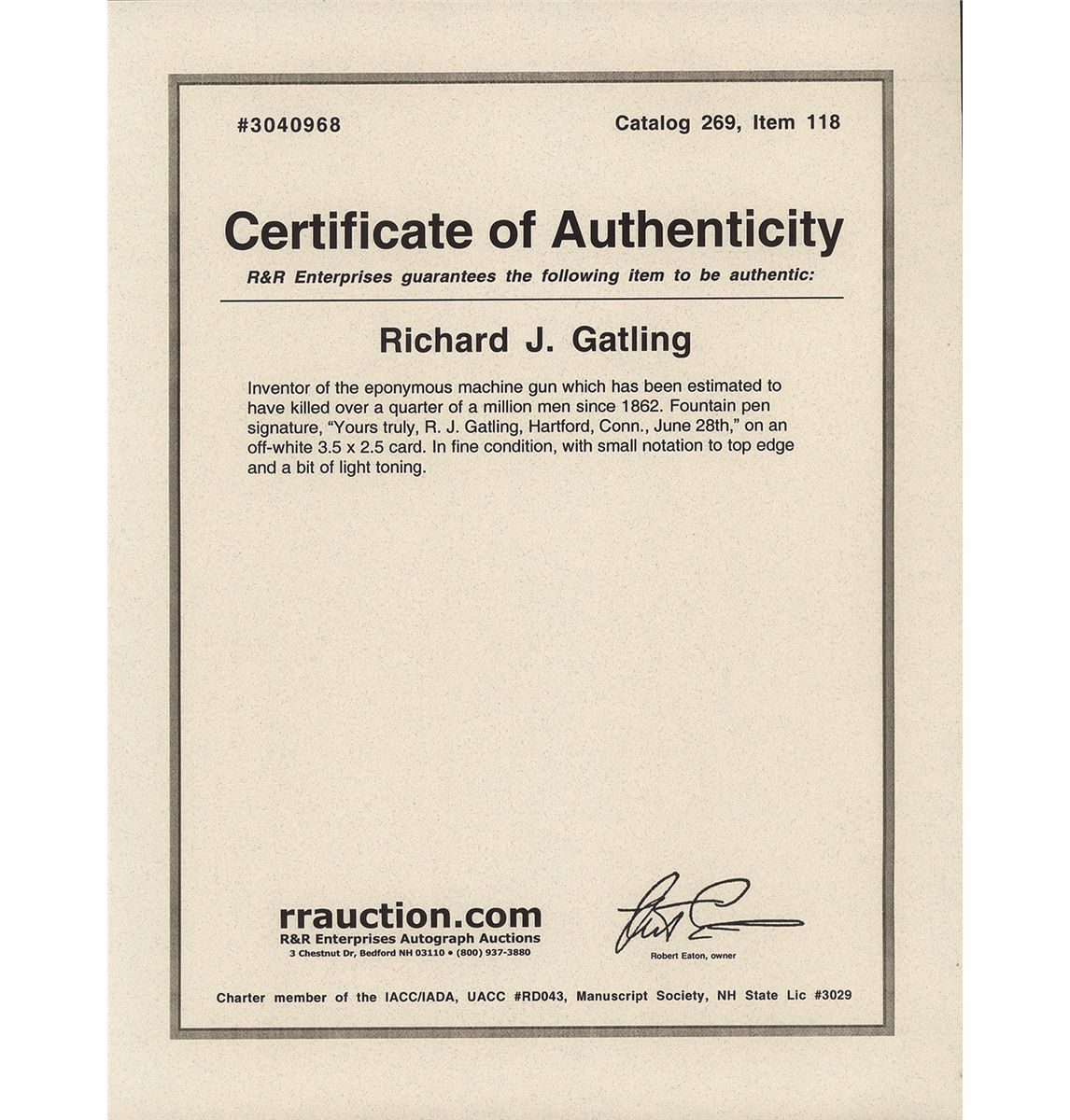 Artist certificate of authenticity template choice image framed picture and autograph of dr gatling with certificate of framed picture and autograph of dr alramifo Images
