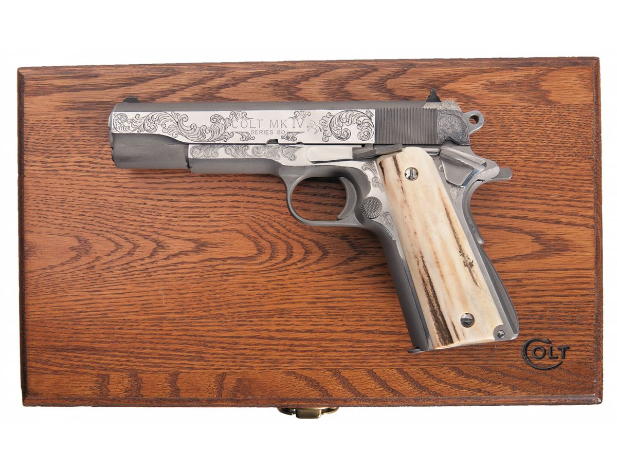 Custom Engraved and Cased Colt MK IV Series 80 1911 Semi-Automatic Pistol  with Stag. Loading zoom