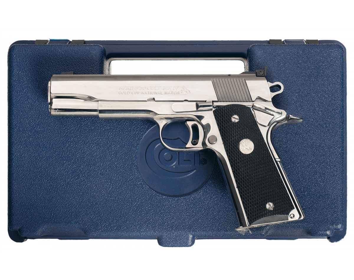 Colt MKIV Series 80 Gold Cup National Match Ultimate Stainless  Semi-Automatic Pistol with Case. Loading zoom