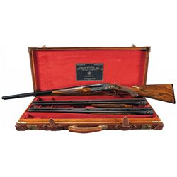 Cased Winchester Master Engraved Angelo Bee Signed Gold Inlaid Model 21 Three Barrel Set Shotgun in