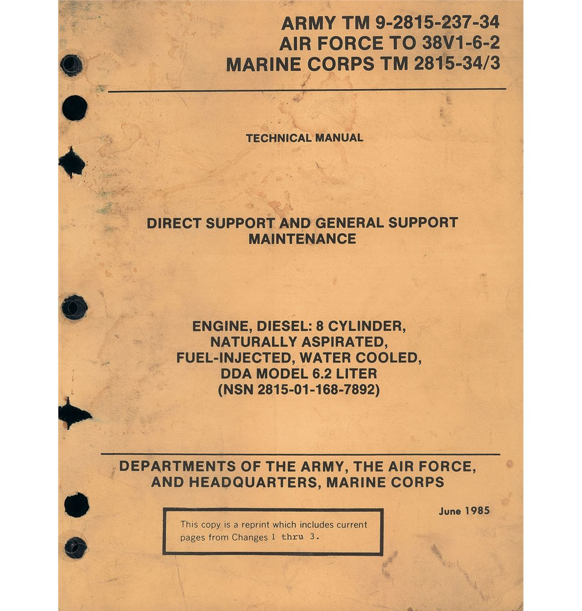 1987 hmmwv high mobility multi purpose wheeled vehicle military rh icollector com M997 Technical Manual M998 Technical Manual