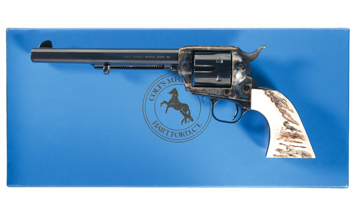 Image 1 : 4th Generation Colt Single Action Army Revolver with Stag Grips  and Box