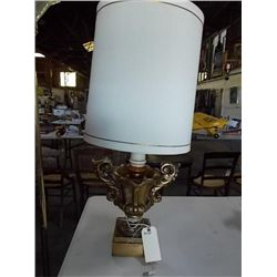 "Large Gold Ceramic Lamp 31"" tall x 14"" wide without shade"