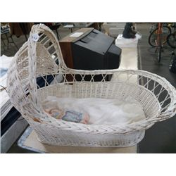 Large Bassinet with Cabbage Patch Doll