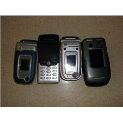 4 Cell Phones 3 Sony Ericsson's 1 Motorola