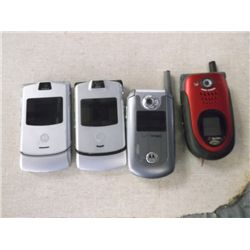 4 Cell Phones 3 Motorola's 1 Sanyo