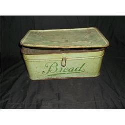 "Vintage Green Tin Bread Box approx. 16"" x 10"" x 7"" deep"