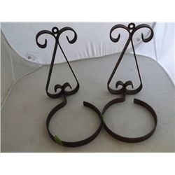 Pair wrought iron pot hanger tracking 331 & Wire Wisk