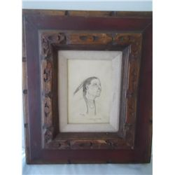 Frame 13 ½ x 15 Original vintage pencil art. Navaho Chief 4 ½ x 6 ½ Signed L. Edwin Edwards 1975 (¼)