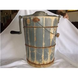 """Antique Ice Cream Maker Very old wood bucket ice cream maker in working order approx. 14"""" round x 16"""