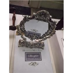 Silver plate mirror in box