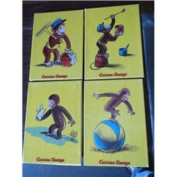 "4-Curious George on Canvas 4 Curious George Paintings on Canvas approx 10"" x 14"" each"