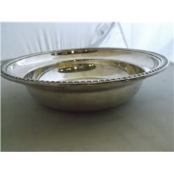 "round silver bowl Silver plate bowl 9"" x 2""  tracking 287"