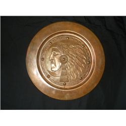 11 Inch Aztecan Plate 30 - 19tc - 11 Inch Aztecan Plate - Vintage Copper - Great Patina! Call it wha