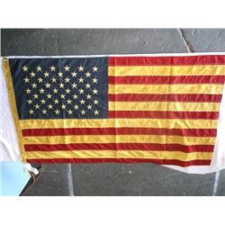 "Primitive Tea Stained Flag 50 Star American Tea Stained Flag 32"" wide"