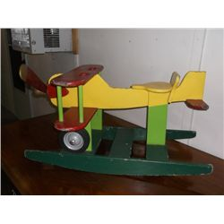 "Hand Crafted Hand Painted Vintage Rocking Airplane 35"" x 24"" x 19"""