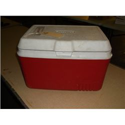 red rubbermade cooler