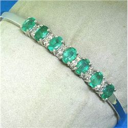 14K BANGLE WITH EMERALDS & DIAMONDS