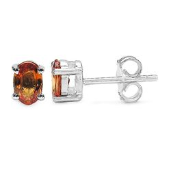 1.30 Carat Genuine Orange Sapphire .925 Sterling Silver Earrings