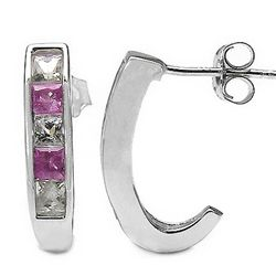 1.50 Carat Genuine Pink & White Sapphire .925 Sterling Silver Earrings