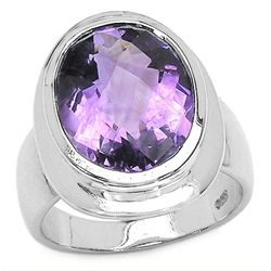 8.00 Carat Genuine Amethyst .925 Sterling Silver Ring