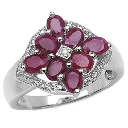 1.60 Carat Genuine Ruby & White Diamond .925 Sterling Silver Ring