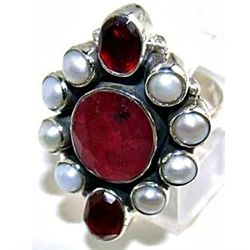 Silver and Ruby, Pearl & Garnet Ring