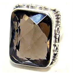 Silver and Smokey Quartz Ring