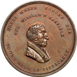1840 William Henry Harrison Medal. Dewitt WHH-1840-7. Mint State 64 Brown.