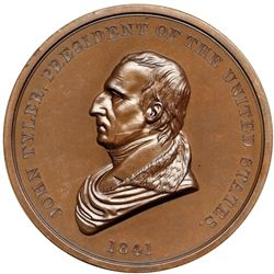 1841 John Tyler Indian Peace Medal, Julian IP-21, First Size, Second Reverse. Mint State 64 Brown.