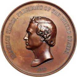 1853-Dated Franklin Pierce Indian Peace Medal. First Size, Large Date, Julian-IP-32, Bronzed copper.