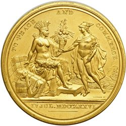 Dated July 4, 1776 To Peace and Commerce by F. Dupre. Gilt Medal issued 1876 by Charles Barber. EF