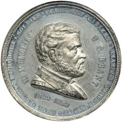 1885 Ulysses S. Grant Memorial Medal. White metal, 63mm. NGC MS-62. NGC MS62
