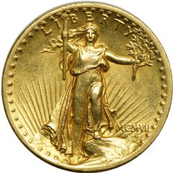1907 $20 St. Gaudens. High Relief, Flat Rim