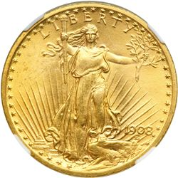 1908 $20 St. Gaudens. Motto NGC MS65