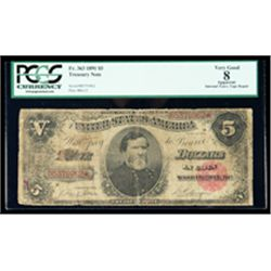 1891, $5 Coin Note. PCGS Very Good 8 Apparent
