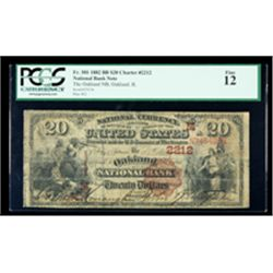 1882, $20 National Bank Note. The Oakland NB, Oakland, IL. Ch. #2212. PCGS Fine